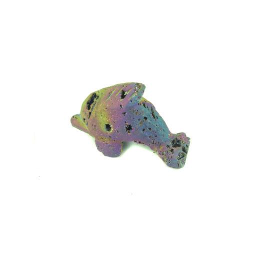 titanium electroplated druzy quartz dolphin