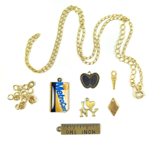 chain jump rings I heart NY metro card apple and drop charms with ruler