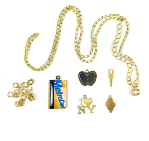 chain jump rings I heart NY metro card apple and drop charms