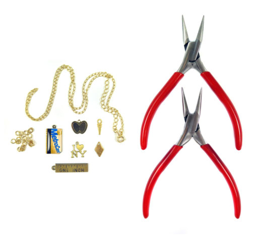 chain jump rings I heart NY metro card apple and drop charms with plier