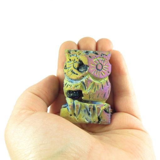 titanium electroplated quartz owl